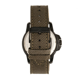 Morphic M70 Series Canvas-Overlaid Leather-Band Watch w/Date - Black/Olive - MPH7005