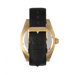 Morphic M46 Series Leather-Band Men's Watch w/Date - Gold/Black - MPH4606