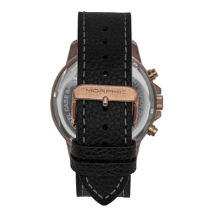 Morphic M86 Series Chronograph Leather-Band Watch - Rose Gold/Black - MPH8604