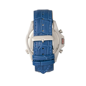 Morphic M36 Series Leather-Band Chronograph Watch - Silver/Blue - MPH3603