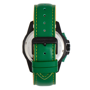 Morphic M82 Series Chronograph Leather-Band Watch w/Date - Black/Green - MPH8206