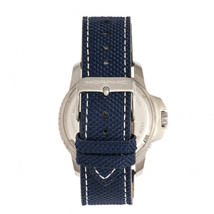 Morphic M70 Series Canvas-Overlaid Leather-Band Watch w/Date - Silver/Blue - MPH7002