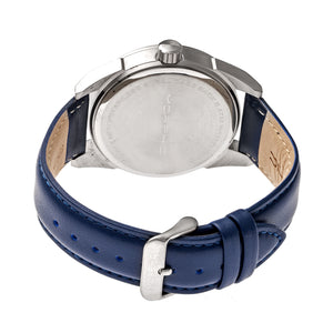 Morphic M63 Series Leather-Band Watch w/Date - Black/Blue - MPH6308