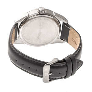 Morphic M63 Series Leather-Band Watch w/Date - Silver/Black - MPH6301