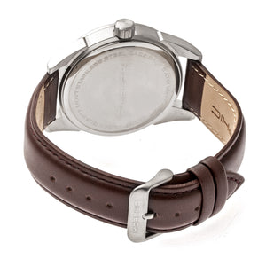 Morphic M63 Series Leather-Band Watch w/Date - Grey/Brown - MPH6305