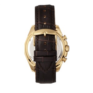 Morphic M66 Series Skeleton Dial Leather-Band Watch w/ Day/Date - Gold/Dark Brown - MPH6604