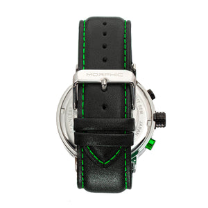 Morphic M91 Series Chronograph Leather-Band Watch w/Date - Silver/Green - MPH9102
