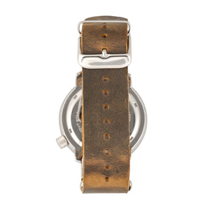 Morphic M74 Series Leather-Band Watch w/Magnified Date Display - Brown/Silver/Black - MPH7409