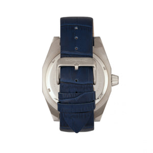 Morphic M46 Series Leather-Band Men's Watch w/Date - Silver/Navy - MPH4603