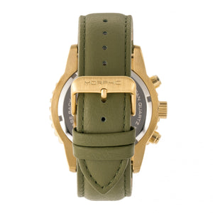 Morphic M67 Series Chronograph Leather-Band Watch w/Date - Gold/Olive - MPH6703