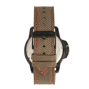 Morphic M70 Series Canvas-Overlaid Leather-Band Watch w/Date - Black/Khaki - MPH7006
