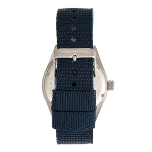Morphic M69 Series Canvas-Band Watch - Silver/Blue - MPH6904