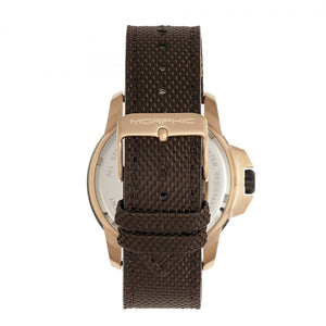 Morphic M70 Series Canvas-Overlaid Leather-Band Watch w/Date - Rose Gold/Brown - MPH7004