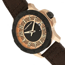 Load image into Gallery viewer, Morphic M70 Series Canvas-Overlaid Leather-Band Watch w/Date - Rose Gold/Brown - MPH7004