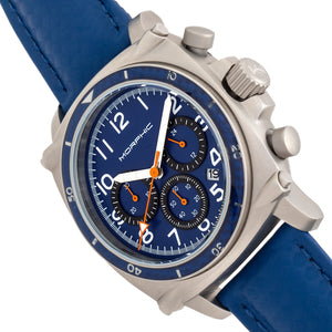 Morphic M83 Series Chronograph Leather-Band Watch w/ Date - Silver/Blue - MPH8305