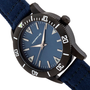Morphic M85 Series Canvas-Overlaid Leather-Band Watch - Black/Blue - MPH8504