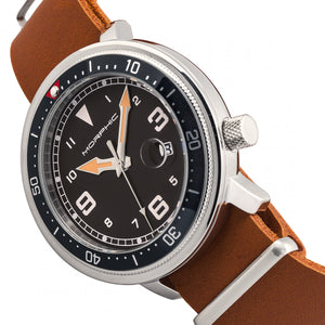 Morphic M74 Series Leather-Band Watch w/Magnified Date Display - Camel/Black & Silver/Black - MPH7414