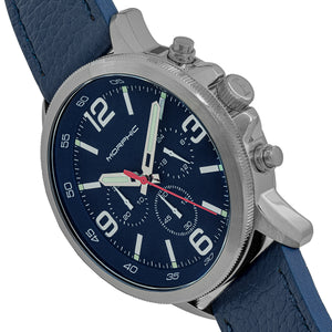 Morphic M86 Series Chronograph Leather-Band Watch - Silver/Navy - MPH8603