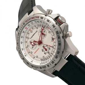 Morphic M36 Series Leather-Band Chronograph Watch - Silver/White - MPH3601
