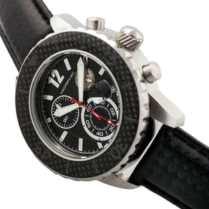 Morphic M51 Series Chronograph Leather-Band Watch w/Date - Silver/Black - MPH5101