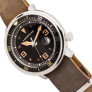 Morphic M74 Series Leather-Band Watch w/Magnified Date Display - Brown/Black & Gold/Black - MPH7411
