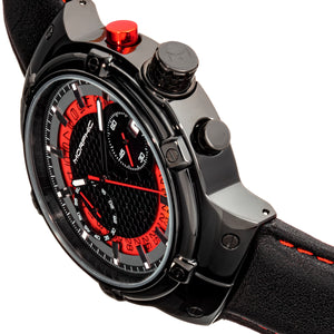 Morphic M91 Series Chronograph Leather-Band Watch w/Date - Black/Red - MPH9104