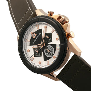 Morphic M57 Series Chronograph Leather-Band Watch - Rose Gold/Olive - MPH5706