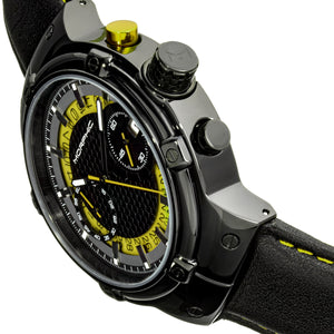 Morphic M91 Series Chronograph Leather-Band Watch w/Date - Black/Yellow - MPH9106