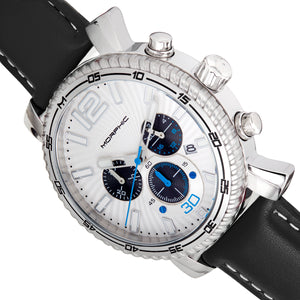 Morphic M89 Series Chronograph Leather-Band Watch w/Date - Black/White - MPH8901