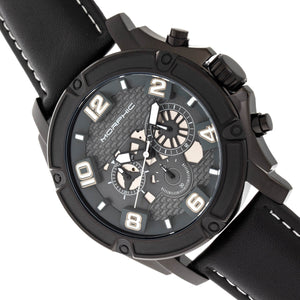 Morphic M73 Series Chronograph Leather-Band Watch - Black - MPH7306