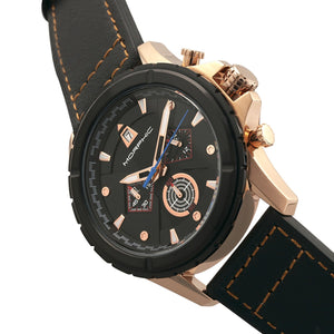 Morphic M57 Series Chronograph Leather-Band Watch - Rose Gold/Black - MPH5705