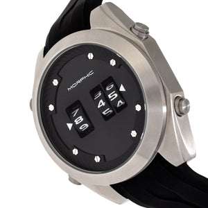 Morphic M76 Series Drum-Roll Strap Watch - Silver/Black - MPH7601