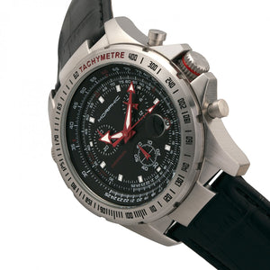 Morphic M36 Series Leather-Band Chronograph Watch - Silver/Black - MPH3602