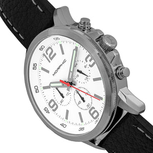 Morphic M86 Series Chronograph Leather-Band Watch - Silver/White - MPH8601