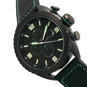 Morphic M64 Series Chronograph Leather-Band Watch w/ Date - Black/Green - MPH6405