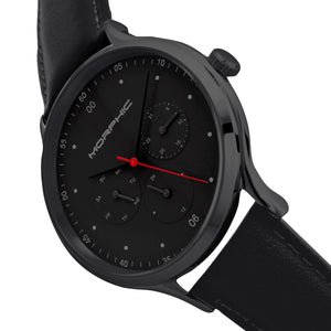 Morphic M65 Series Leather-Band Watch w/Day/Date - Black - MPH6507