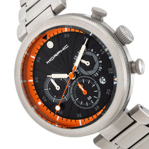 Morphic M87 Series Chronograph Bracelet Watch w/Date - Silver/Orange - MPH8704