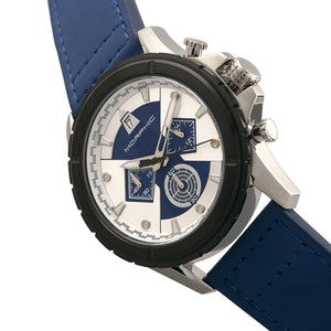 Morphic M57 Series Chronograph Leather-Band Watch - Silver/Blue - MPH5702
