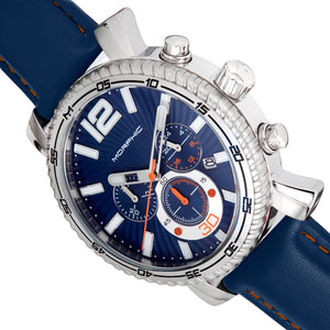 Morphic M89 Series Chronograph Leather-Band Watch w/Date - Blue - MPH8903