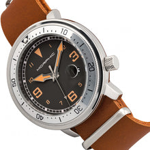 Load image into Gallery viewer, Morphic M74 Series Leather-Band Watch w/Magnified Date Display - Camel/Silver/Brown - MPH7412