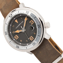 Load image into Gallery viewer, Morphic M74 Series Leather-Band Watch w/Magnified Date Display - Brown/Silver/Black - MPH7409