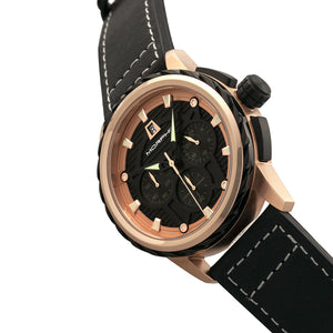 Morphic M61 Series Chronograph Leather-Band Watch w/Date - Rose Gold/Black - MPH6103