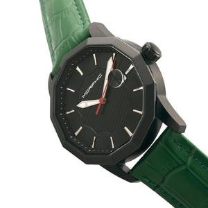 Morphic M56 Series Leather-Band Watch w/Date - Black/Green - MPH5607