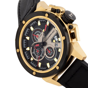 Morphic M81 Series Chronograph Leather-Band Watch w/Date - Black/Gold  - MPH8103