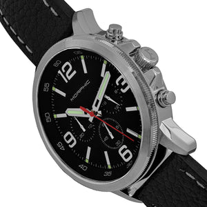 Morphic M86 Series Chronograph Leather-Band Watch - Silver/Black - MPH8602
