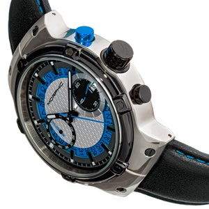 Morphic M91 Series Chronograph Leather-Band Watch w/Date - Silver/Blue - MPH9103