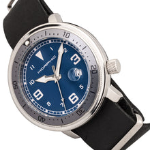 Load image into Gallery viewer, Morphic M74 Series Leather-Band Watch w/Magnified Date Display - Black/Grey/Blue - MPH7408