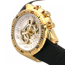 Load image into Gallery viewer, Morphic M66 Series Skeleton Dial Leather-Band Watch w/ Day/Date - Gold/Dark Brown - MPH6604