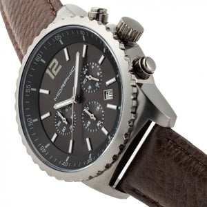 Morphic M67 Series Chronograph Leather-Band Watch w/Date - Gunmetal/Brown - MPH6705