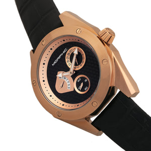 Morphic M46 Series Leather-Band Men's Watch w/Date - Rose Gold/Black - MPH4607